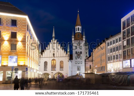 The old town hall of Munich, Bavaria, Germany. Situated in Marienplatz is one of the symbols of Munich - stock photo