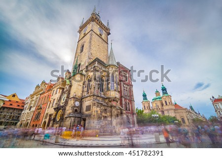 The Old Town Hall, Prague, Czech Republic, is one of the most famous attractions in the city. It is located in Old Town Square, and holds third-oldest astronomical clock in the world. - stock photo