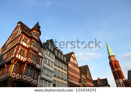 The old town in Frankfurt am Main in Hessen, Germany, Europe.