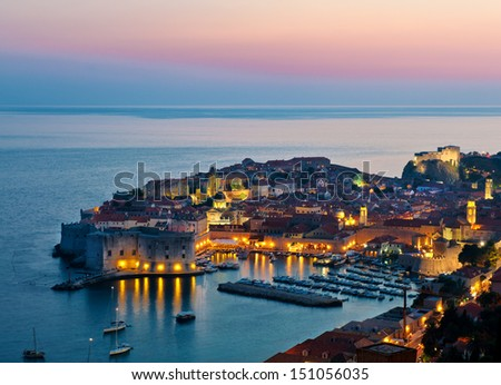 The Old Town of Dubrovnik, Croatia, on the Adriatic sea. Unesco World Heritage Site. - stock photo