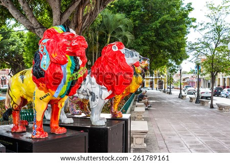 The old town of the city of Ponce and its colorful lions in Puerto Rico, United States. - stock photo