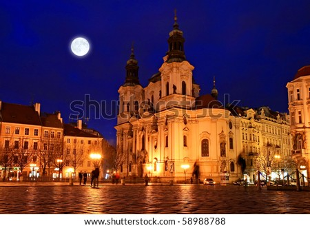 The Old Town Square at night in the center of Prague City - stock photo