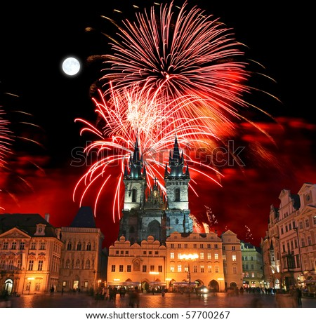 The Old Town Square in Prague City with a firework display - stock photo