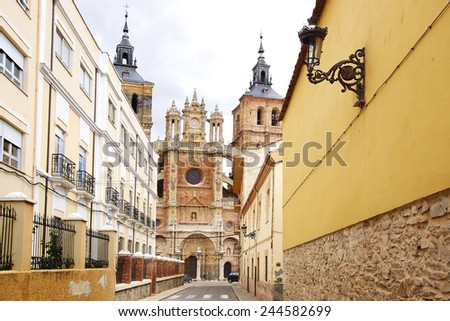 The old town vintage architecture in Astorga, Spain - stock photo