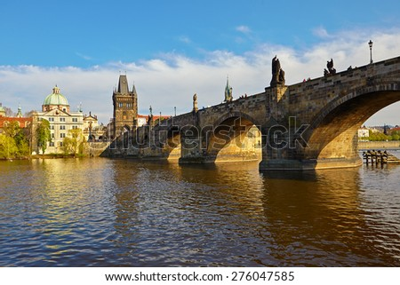 The Old Town with Charles Bridge (a.k.a. Stone Bridge, Kamenny most, Prague Bridge, Prazhski most)over Vltava river in Prague, Czech Republic.