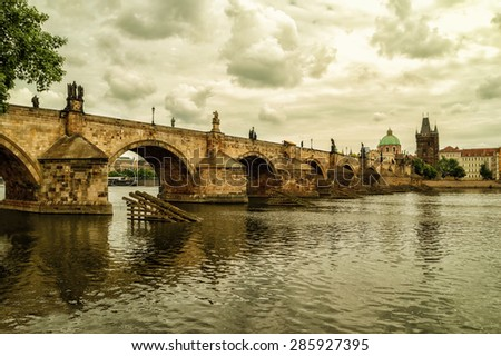 The Old Town with Charles Bridge over Vltava river in Prague, Czech Republic.
