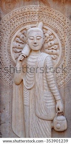 The old traditional Thai art wood carving - stock photo