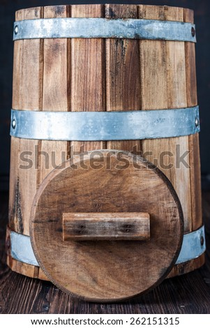 The old tub / barrel for wine or pickles background.  - stock photo