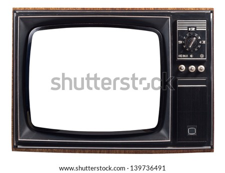 The old TV on the isolated white background - stock photo