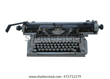 The old typewriter isolated.