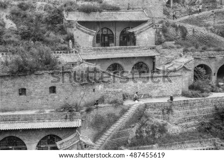 The old village Lijiashan near Yellow river in northern China