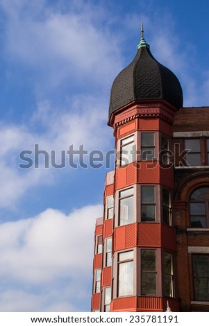 The old vintage building in downtown Aurora, Illinois. - stock photo
