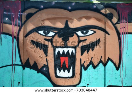 The old wall, painted in color graffiti drawing with aerosol paints. Picture of a terrible bear face