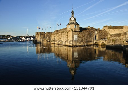 The old walls of ville close, the old core of Concarneau, Brittany, France - stock photo