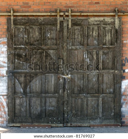 The old warehouse gates. - stock photo