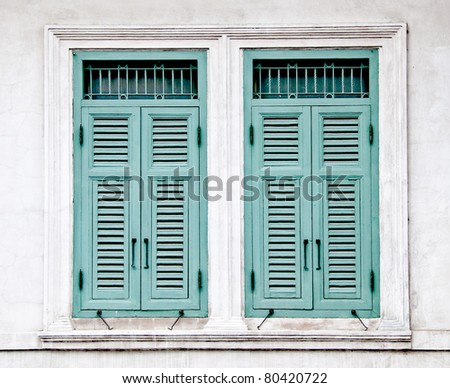 The Old window on wall background - stock photo