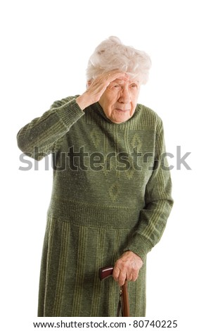 The old woman isolated on white background - stock photo