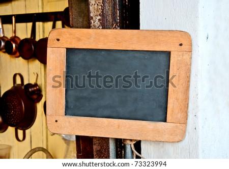 The Old wooden blackboard - stock photo