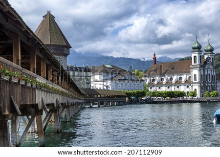 The old wooden bridge on the river in Lucerne