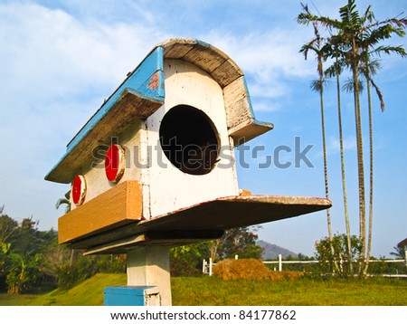 The Old wooden mail box - stock photo