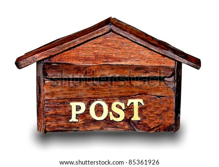 The Old wooden of mailbox isolated on white background - stock photo