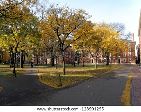 The Old Yard at Harvard University in Autumn - stock photo