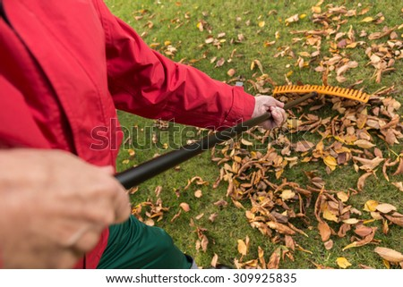 The older man while cleaning the garden - stock photo