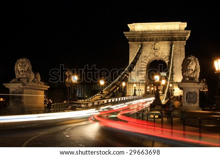 The oldest bridge in Budapest - Chain Bridge at night