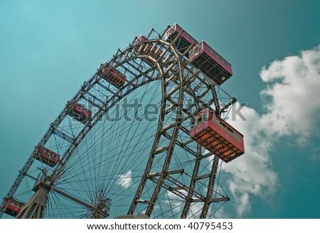 The oldest Ferris Wheel in Vienna, Austria. Prater park - stock photo
