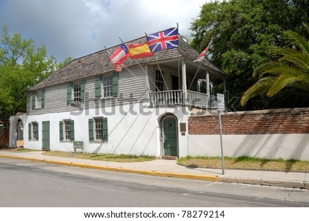 the Oldest House dated 1727 at historic St. Augustine, Florida Usa - stock photo