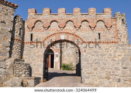 the oldest monastery Ypsilou of island Lesbos,Greece - stock photo