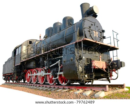 The oldest steam locomotive isolated on a white background - stock photo