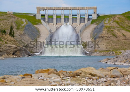 The Oldman hydro power dam in Alberta, Canada - stock photo