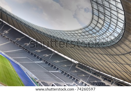 The Olympiastadion (Olympic Stadium) is a sports stadium in Berlin. HDR composite (5 exposures) shots. - stock photo