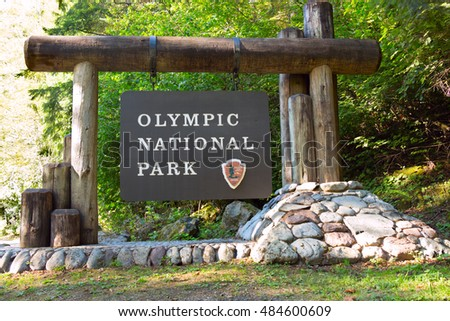 The Olympic National Park sign, near Lake Cushman, Hoodsport, Washington, USA.