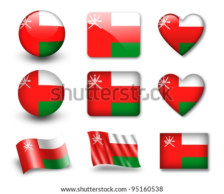 The Oman flag - set of icons and flags. glossy and matte on a white background. - stock photo