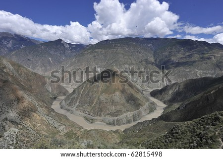 the Omega Bend of  Yangtze River, Yunnan Province, China - stock photo