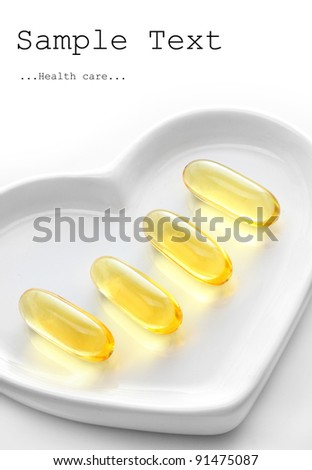 The Omega-3 pills with space for your text. Health care concept.