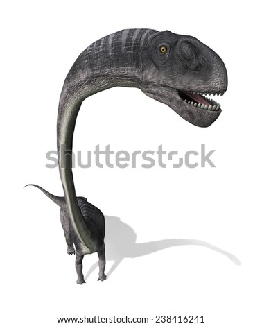 The Omeisaurus was a very large dinosaur that lived during the Jurassic period - as seen from above. - stock photo