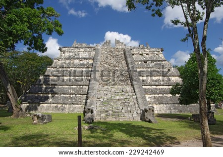 The one of pyramids inside the maya archeological site of Chichen Itza, Mexico - stock photo