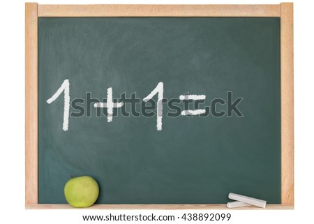 the one plus one is written on a blackboard
