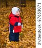 The one-year-old kid in autumn wood - stock photo