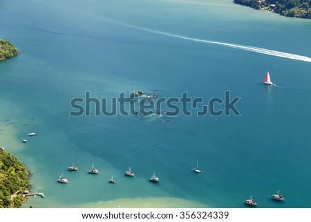 The only fjord of Brazil at Rio de Janeiro state. - stock photo
