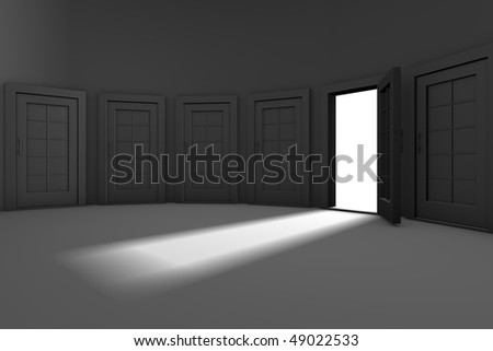 The only open door from many closed doors - stock photo