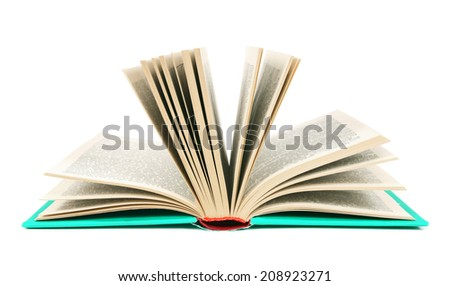 The open book. On a white background. - stock photo
