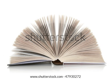 The open book on a white background