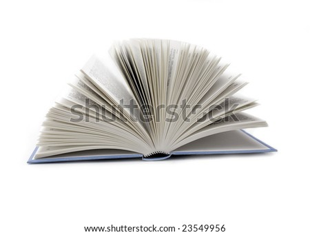 The open book on the white background.
