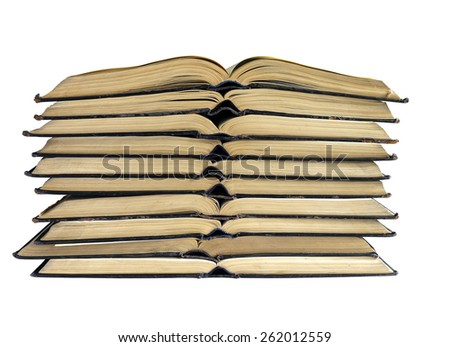 the open books folded on each other - stock photo