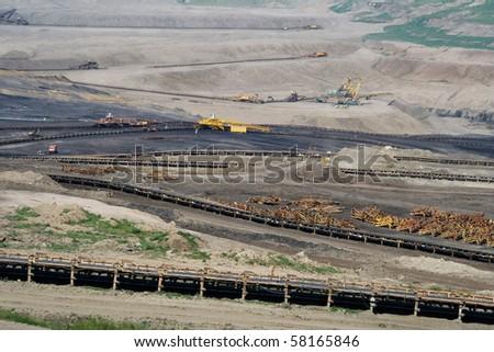 the open cast coal mine in Czech Republic - stock photo