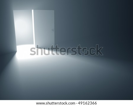"The open door is a concept of the opportunity and hopefulness to reach the success. The chance to leave the dark room. ""Light at the End of the Tunnel"" (saying)."
